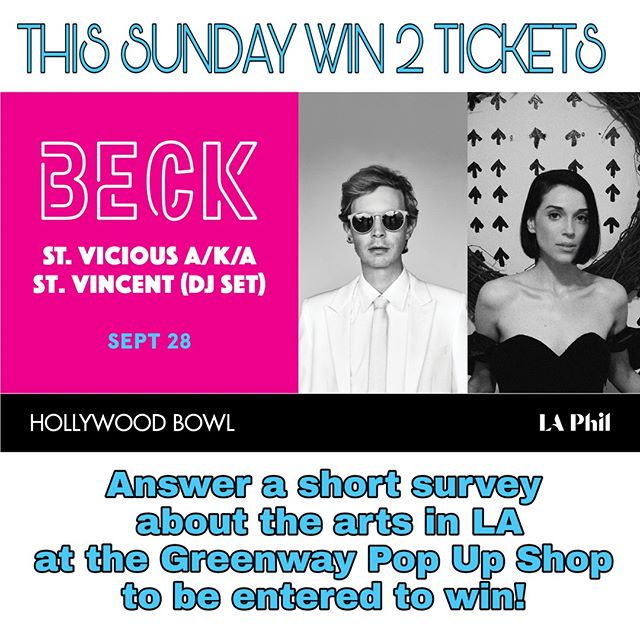 🎟️ IN-PERSON GIVEAWAY THIS SUNDAY! 🎟️Enter to win two tickets to Beck and St. Vicious A/K/A St. Vincent at the Hollywood Bowl by filling out a short survey about the arts in Los Angeles!Come to the Greenway Pop Up Shop (R34) in the Courtyard to enter the drawing.We'll announce the winner Sunday evening in person and online!The concert is on September 28th, so the only day to enter is this Sunday, September 23rd at the Melrose Trading Post!... #MelroseTradingPost #beck #hollywoodbowl #concerttickets #greenwayarts #greenwaypopup #melrose #fairfax #fleamarket #losangeles @Greenwaycourttheatre @greenwayartsed