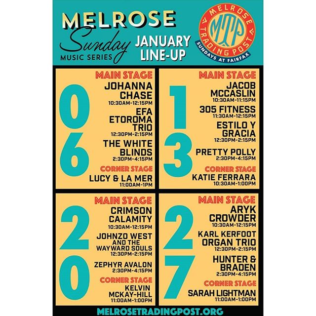 The January Line Up is up!!And guess who?@thewhiteblinds will be performing this Sunday alongside other awesome local musicians! Come hear music to soothe your soul. ...#MelroseTradingPost#fleamarket #losangeles #california #Sundayfunday #music #band #musicofmtp #discovermusic #losangeles #Melrose #fairfax #fleamarket #livemusic
