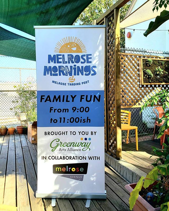 Melrose Mornings is almost here!This is one of the two banners that will be up on the Main Stage during #MelroseMornings....#MelroseTradingPost #peopleofmtp #greenwayarts #Melrose #fairfax #fleamarket #losangeles #sundayinla #sundayfunday #melroseavela #melrosebid #melroseave #familyfun