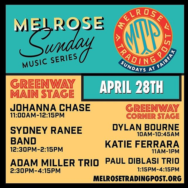 Melrose Sunday Music Series Line-Up for April 28th will set the mood for an awesome Sunday! Featuring @jazzhandsforautism artist, Dylan Bourne, touring band Adam Miller Trio, and local favorites Katie Ferrara, Johanna Chase, Sydney Ranee Band and the Paul DiBlasi Jazz Trio! ...#musicofmtp #discovermusic #greenwayarts #melrosesundaymusicseries #melrosetradingpost #melrose #fairfax #fleamarket #losangeles #sundayinla #sundayfunday #peopleofmtp #visitlosangeles