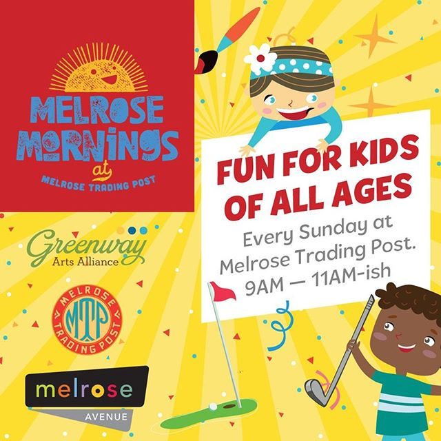 "Introducing Melrose Mornings at the Melrose Trading Post, brought to you by Greenway Arts Alliance in partnership with the Melrose Business Improvement District. ⠀⠀Launching Sunday, April 28, and then taking place every Sunday at the MTP from 9am-11am, Melrose Mornings will appeal to parents and kids from toddlers to 'tweens. Entertainment includes kid-friendly bands and entertainers, a handmade putt-putt course, arts and crafts, face painting and more! For the April 28th launch, we look forward to welcoming:⠀⠀• Live music by Tim Kubart, winner of the 2016 GRAMMY Award for ""Best Children's Album"" for his independently released and fifth album for families, HOME, and Tambourine Guy with Postmodern Jukebox!⠀• Megan McIver, bubble-ologist extraordinaire, will perform a jaw-dropping Bubble Show, making bubbles with the crowd. ⠀• Art Project Station ⠀• Face-painting by We Adorn You⠀• Local Flavor: A section devoted to local artisanal food providers ⠀⠀Join us April 28th and every Sunday morning thereafter for an awesome family gathering at MTP! Entrance is $5 for adults, free for kids. ⠀There is a charge for special activities.*⠀⠀The Melrose Sunday Music Series follows after on the Main Stage, so you can continue enjoying more MTP fun.⠀⠀#MelroseTradingPost #GreenwayArts #Melrose #Fairfax #MelroseMornings #MelroseAveLA #LosAngeles #Hollywood #WeAdornYou #MeganMciver #Bubbleologist #TimKubart"